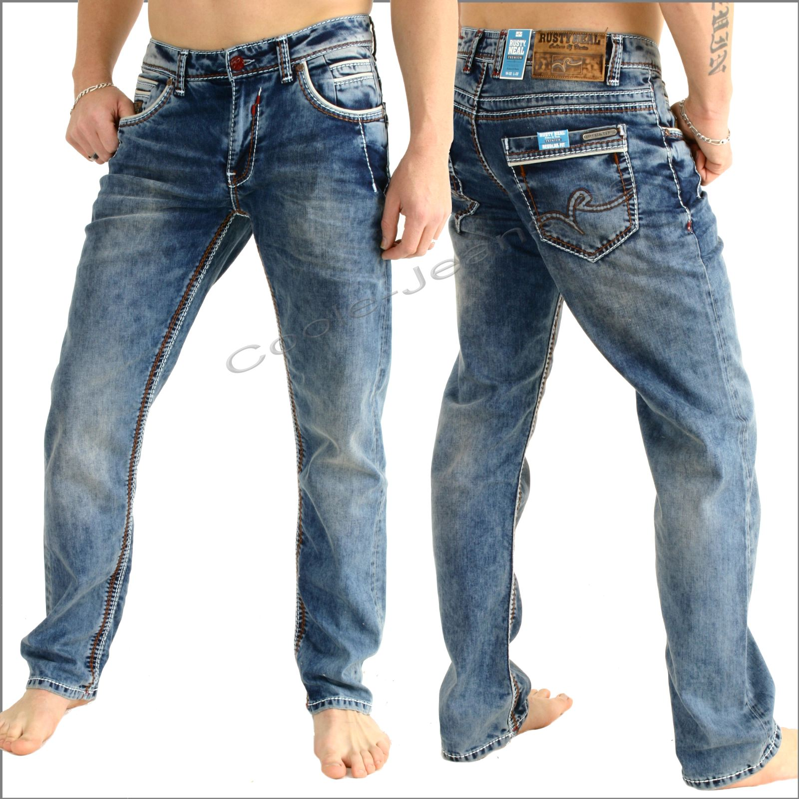 RustyNeal7650HerrenjeansRNealdarkblueweisseNaht  # Waschmaschine Jeans