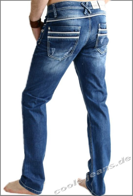 cipo baxx herrenjeans cipoundbaxx modell 1127 blue used jeans mit wei en naht starker abrieb. Black Bedroom Furniture Sets. Home Design Ideas