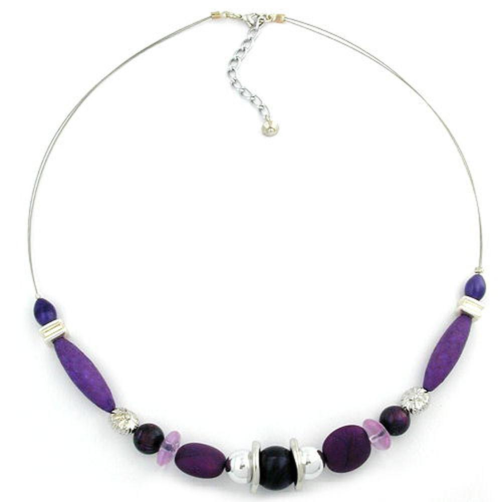 Kette, lila-marmoriert-silber, Draht - Schmuck-00615, 17,48 €
