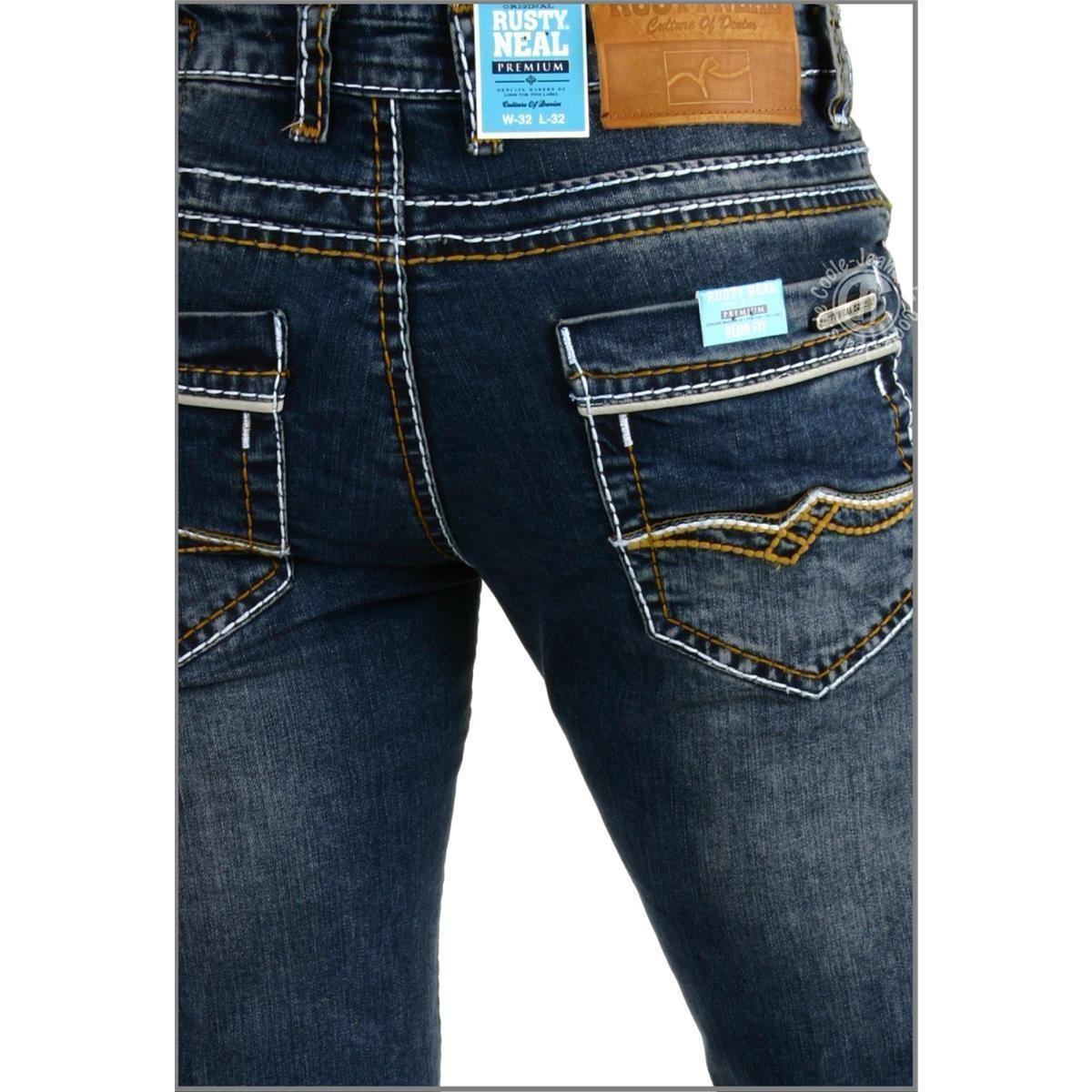 RustyNeal7651HerrenjeansRNealdarkblueweisseNaht  -> Waschmaschine Jeans