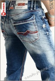 Jeans Rusty Neal 8323-27 coole fette Naehte in rot und weiss