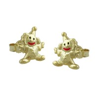 Stecker, Clown Mund-rot, 9Kt GOLD - Schmuck-430889
