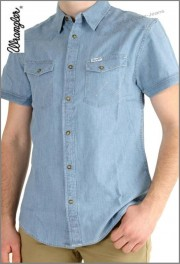 Wrangler Herrenhemd, Western Shirt Light Indigo w5839by4e